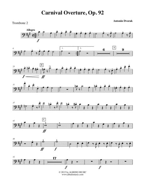 Dvorak Carnival Overture - Trombone Bass Clef 2 (Transposed Part), Op.92