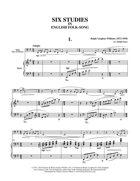 Six Studies in English Folksong arranged for Tuba or Bass Trombone and Piano
