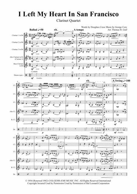 I Left My Heart In San Francisco - Tony Bennett - Clarinet Quartet