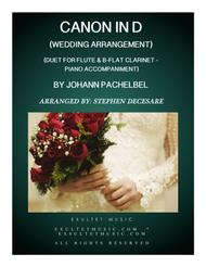 Pachelbel's Canon (Wedding Arrangement: Duet for Flute and Bb-Clarinet with Piano Accompaniment)