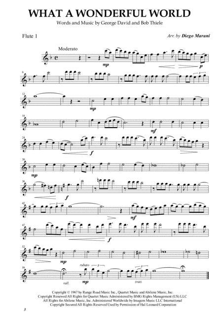 What A Wonderful World for Flute Quartet