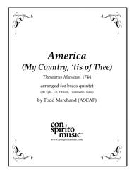 America (My Country, 'Tis of Thee) — brass quintet