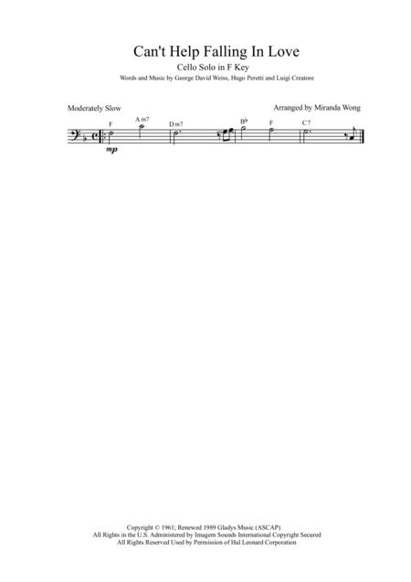 Download Can\'t Help Falling In Love - Easy Cello Solo In F Key (With ...