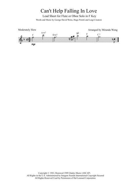 Download Can\'t Help Falling In Love - Flute Or Oboe Solo In F Key ...