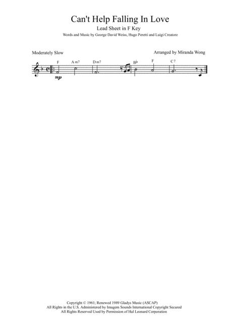 Can't Help Falling In Love - Alto Saxophone + Concert Key (With Chords)