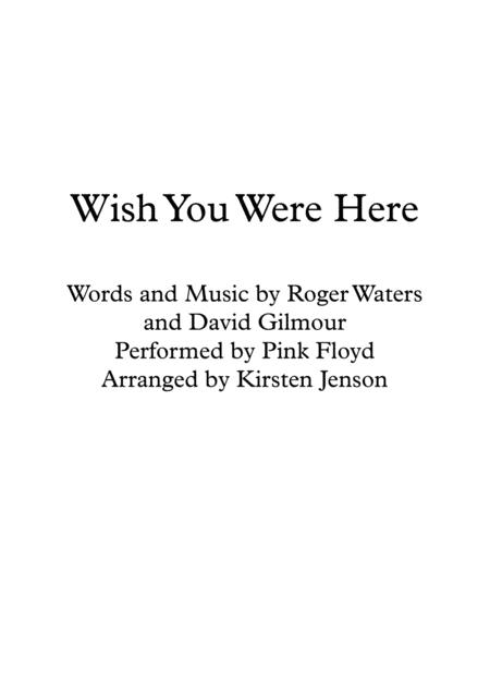 Download Wish You Were Here Sheet Music By Pink Floyd Sheet Music Plus