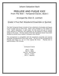 Prelude and Fugue XXII (Woodwind Quintet)