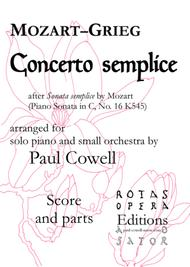 Concerto Semplice - Mozart's Simple Sonata arranged as a concerto by Edvard Grieg and Paul Cowell - Parts