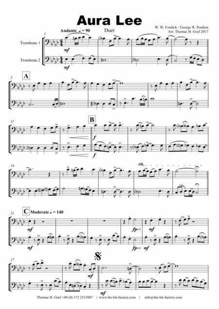 Aura Lee - Love me tender - Elvis - Duet Trombone