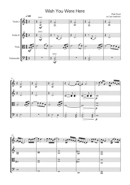Download Wish You Were Here String Quartet Sheet Music By Pink