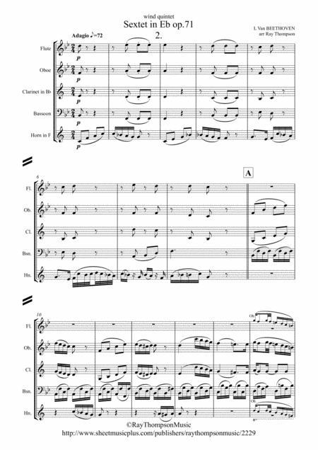 Beethoven: Wind Sextet in Eb Op.71 Mvt.2 Adagio - wind quintet