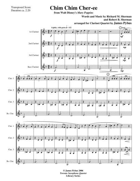 Chim Chim Cher-ee from Walt Disney's MARY POPPINS clarinet quartet version
