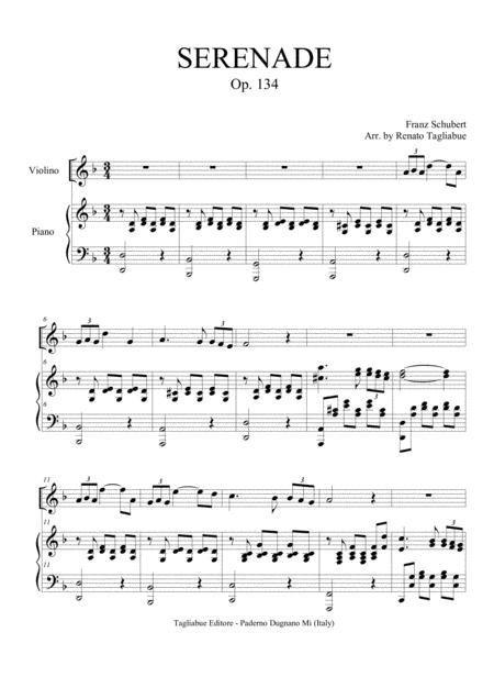 SERENADE - SCHUBERT - OP. 134 - Arr. for Violino (or any instrument in C) and Piano