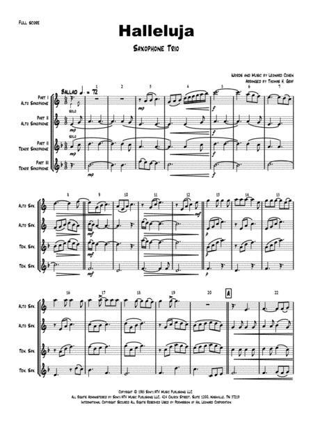 Halleluja - sophisticated arrangement of Cohen's Classic - Saxophone Trio