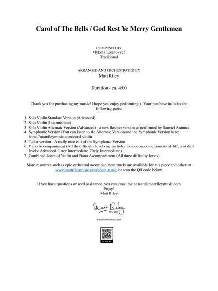 Carol of the Bells - Violin