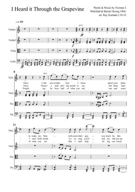 I Heard It Through The Grapevine, for String Quartet