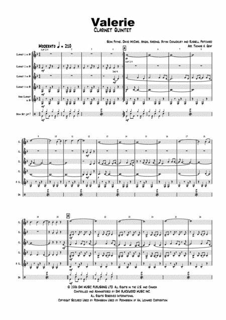 Valerie - Amy Winehouse - Clarinet Quintet