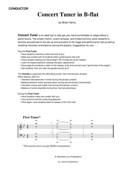 CONCERT TUNER IN B-FLAT (young concert band warm up; very easy; score, parts & license)