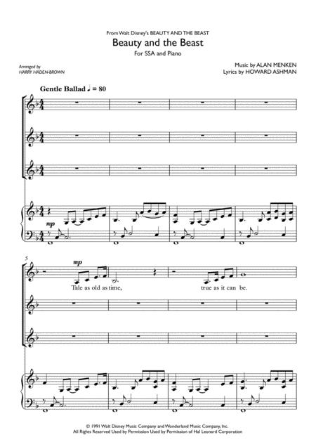 Download Beauty And The Beast In Harmony For Ssa Piano Sheet Music