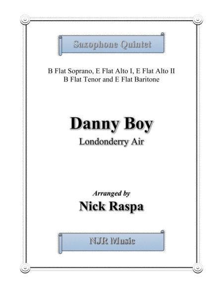 Danny Boy for Saxophone Quintet - (SAATB) Score