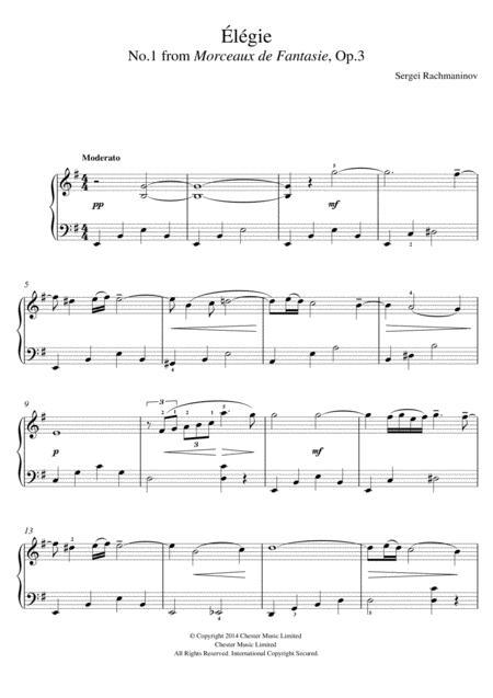 Elegie (No.1 from Morceaux de Fantasie, Op.3)