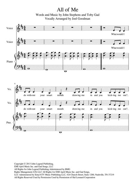Download All Of Me - Vocal Duet Sheet Music By John Legend - Sheet ...