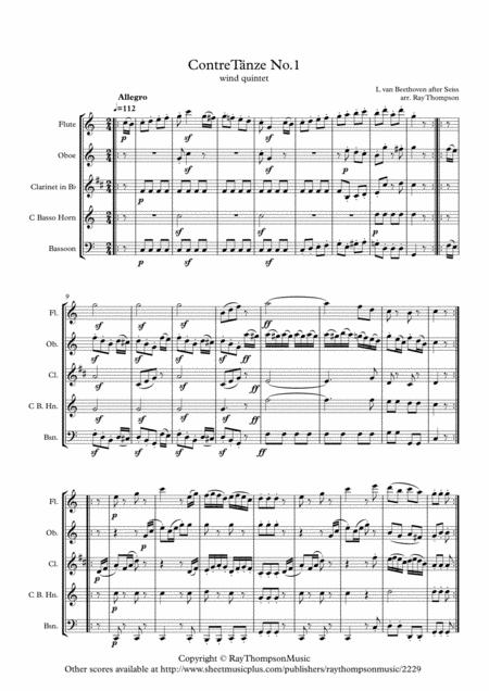 Beethoven (as adapted Seiss): Contre-Tanze (Country Dance) No.1 - wind quintet