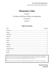 Elementary Solos, Volume 1, for Bb Clarinet, Trumpet, Bass Clarinet, and Baritone T.C.