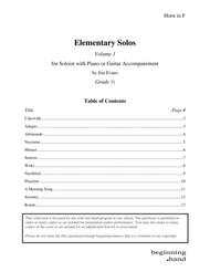 Elementary Solos, Volume 1, for Horn in F