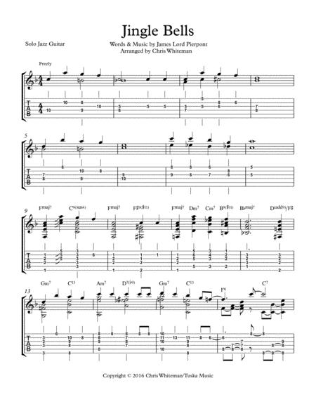 Download Jingle Bells - Jazz Guitar Chord Melody Sheet Music By ...