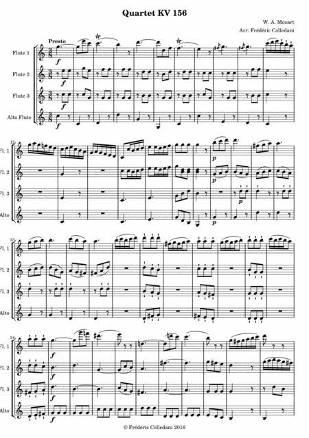 Mozart  - Quartet KV 156 - Presto - version for Flute Quartet or Flute Choir