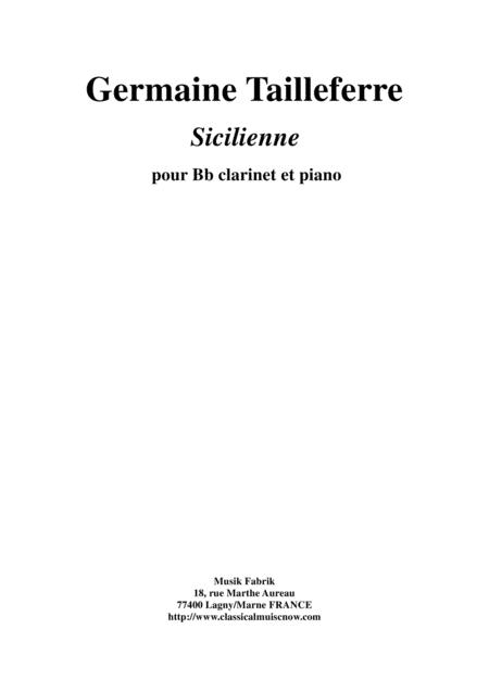 Germaine Tailleferre: Sicilienne for clarinet and piano
