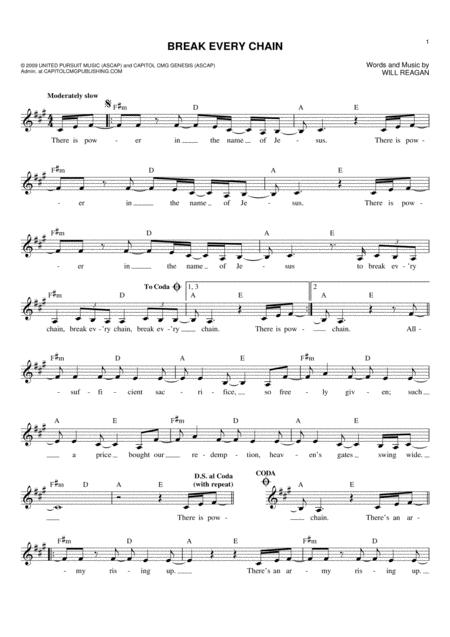 Download Break Every Chain Sheet Music By Will Reagan Sheet Music Plus