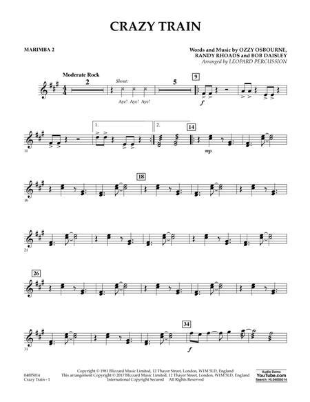 Download Crazy Train - Marimba 2 Sheet Music By Randy Rhoads