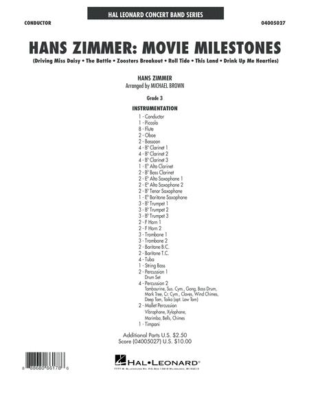 Hans Zimmer: Movie Milestones - Conductor Score (Full Score)