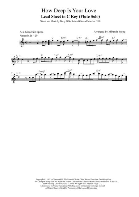 Download How Deep Is Your Love Lead Sheet In C Key With Chords