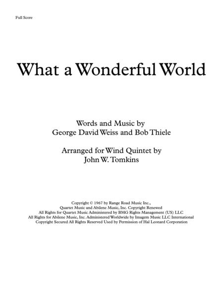 'What A Wonderful World' by Louis Armstrong, arranged for Wind Quintet
