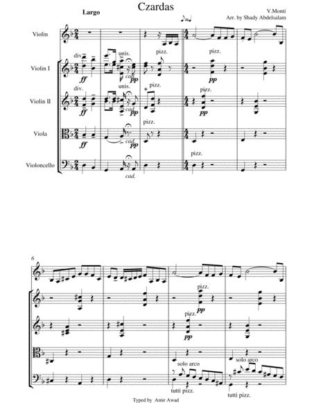 Monti : Czardas for Violin and String Orchestra