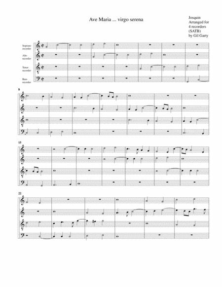 Ave Maria ... virgo serena (arrangement for 4 recorders)