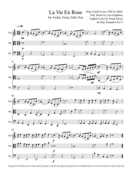 La Vie En Rose, for Violin, Viola, Cello Trio