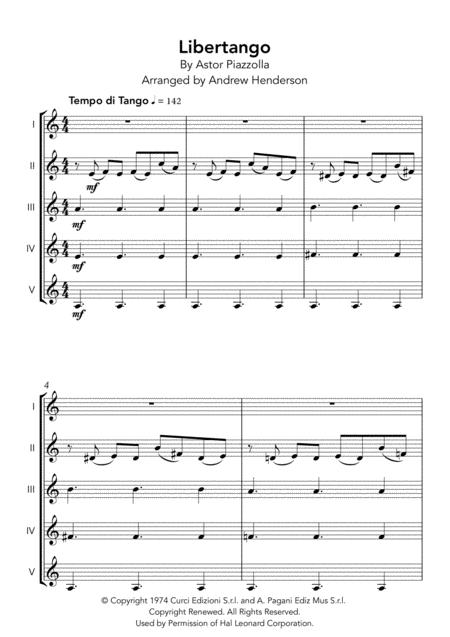 Libertango (five parts for any instruments)
