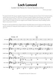 Loch Lomond - Scottish Folk Melody for Clarinet Choir or Quintet
