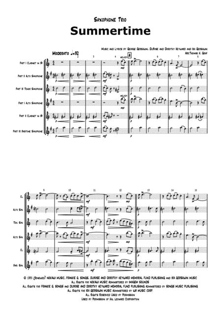 Summertime - Gershwin - Ballad - Saxophone Trio