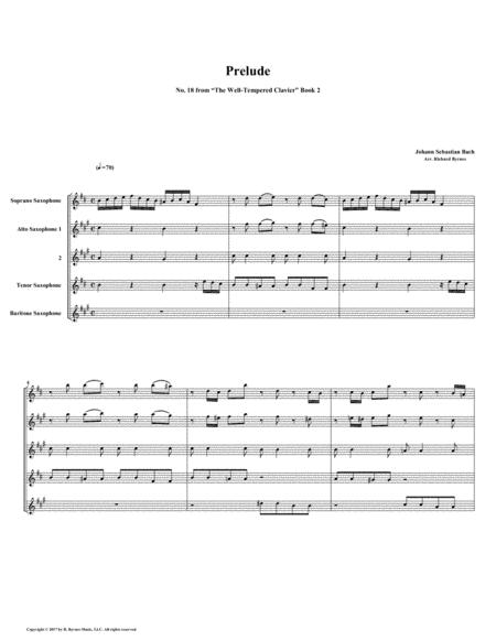 Prelude 18 from Well-Tempered Clavier, Book 2 (Saxophone Quintet)