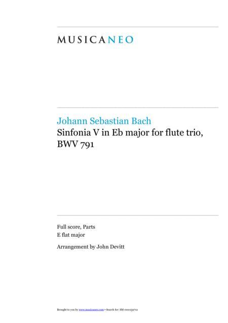 Sinfonia V, BWV 791 by J.S. Bach for flute trio