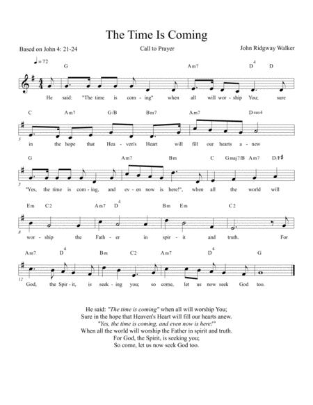 The Time is Coming (Call to Prayer)-leadsheet