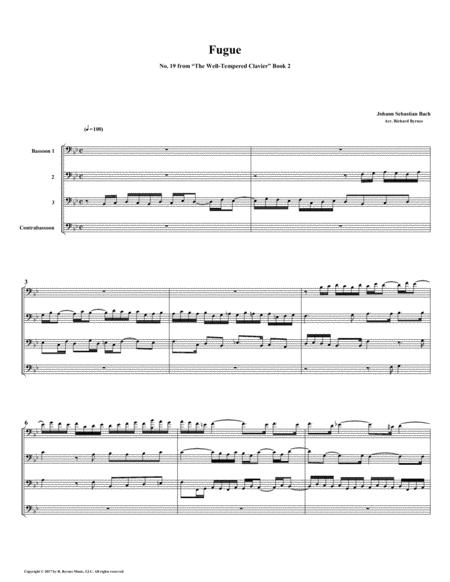 Fugue 19 from Well-Tempered Clavier, Book 2 (Bassoon Quartet)