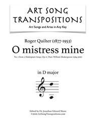 O Mistress mine, Op. 6 no. 2 (D major)