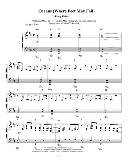 Download Oceans (Where Feet May Fail), Piano Solo Sheet