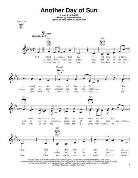 Another Day Of Sun From La La Land By Justin Hurwitz Digital Sheet Music For Ukulele Download Print Hx 368253 Sheet Music Plus